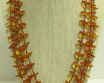 Vintage Hand Strung & Knotted Natural Honey Colored Amber Nugget Tiered / Multi Strand Necklace w/ Lobster Closure.