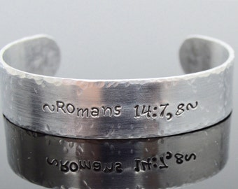 """Personalized Silver Bracelet with Secret Message; Scripture Cuff; JW Gift; Baptism Gift; Custom Made Hammered Bangle; Bible Quote; 5/8"""" x 6"""""""