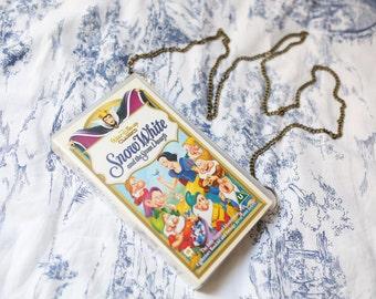Upcycled Disney's Snow White handbag, VHS video case shoulder bag, clutch, retro