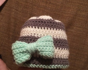 Striped Beanie with Colorful Bow
