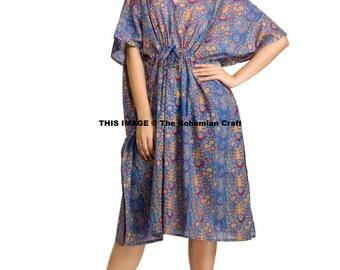 Indian Printed Caftan, Short Dress, Cotton Kaftan, Maternity Gown, Beach Cover Up, Night Wear, Plus Size Tunic, Plus Size Dress, Maxi