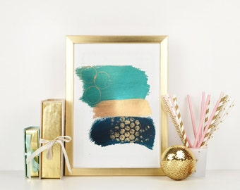 Printable Art,Abstract Printable Art, Teal Gold Blue Printable Wall Art,Teal And Gold Brushstroke Art,Blue Gold Abstract Art,Home Decor,