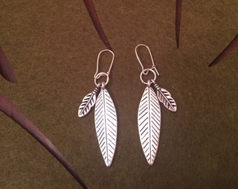 Silver Leaf and Feather Earrings
