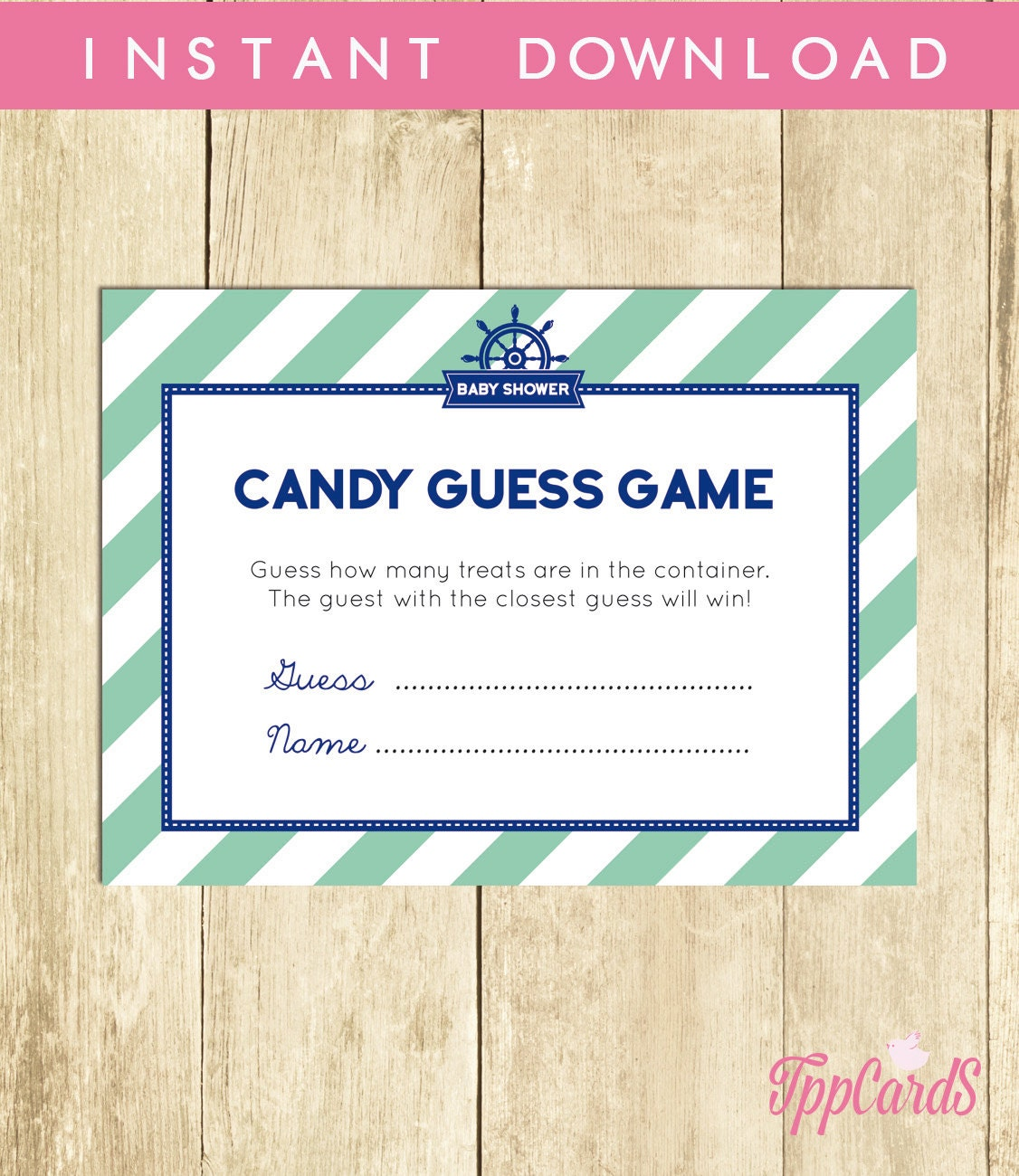 Candy Baby Shower Game: Nautical Baby Shower Candy Guessing Game Guess How Many