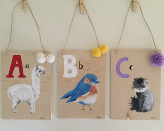 Alphabet hand painted wood letter