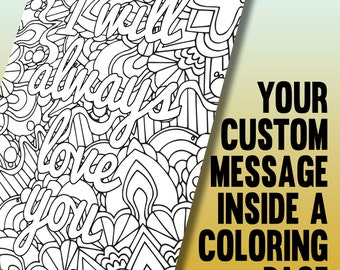 Customized coloring page - Printable A4 coloring page made from your personalized message - Instant Digital Download PDF or JPEG (CBP001)