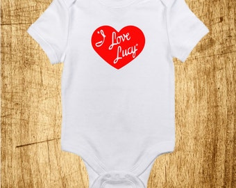 I Love Lucy Baby Onesie, Lucille Ball, Desi Arnez, Heart Logo Design, Heat pressed, Made to order Made with Gerber Onesie