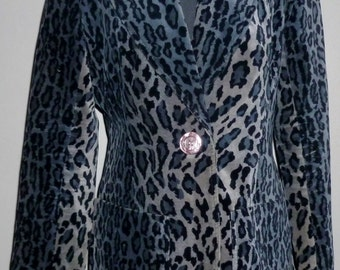 Vintage 1970's Animal Print Velvet Jacket UK 12 - 14