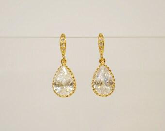 Wedding Jewelry Bridesmaid Jewellery Bridesmaid Earrings Bridal Earrings Gold Plated Cubic Zirconia Tear Drop Dangle Earrings Gift