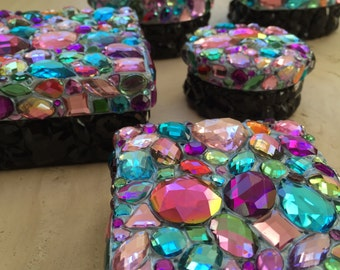 Treasure Boxes - Multi-Pastel-Color Bling Art Jeweled Boxes (Various Styles & Sizes)