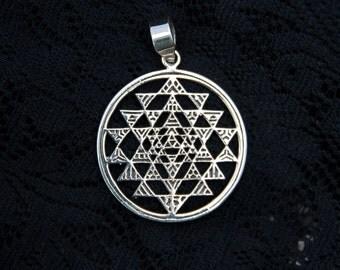 Silver sri yantra pendant shree shri sterling silver necklace sacred geometry triangles geometric boho meditation spiritual new age SP9