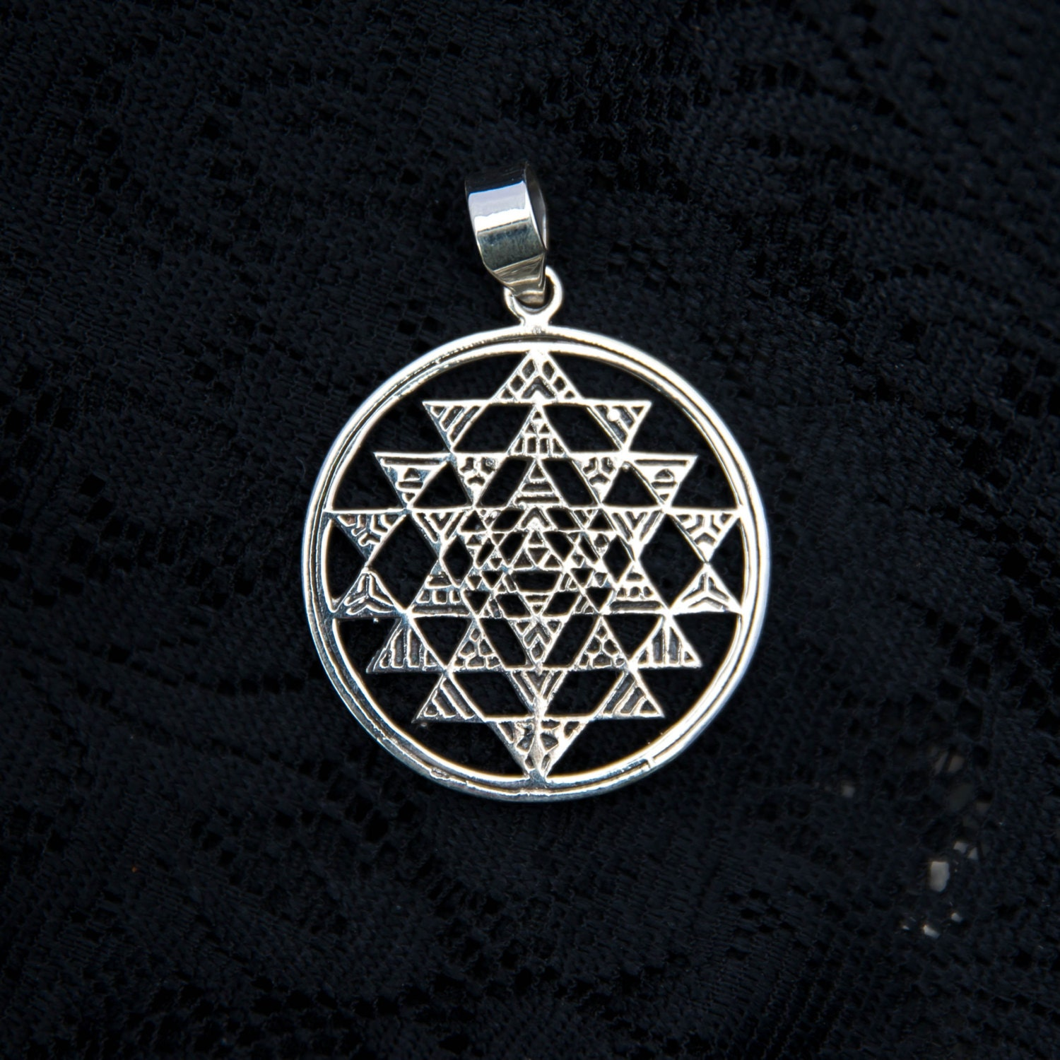 Silver Sri Yantra Pendant Shree Shri Sterling Silver Necklace