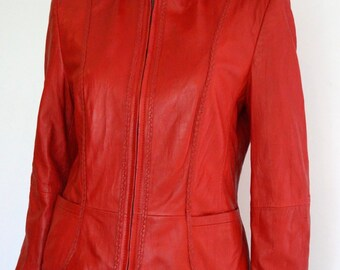 Red Leather Jacket Gerry Weber Women's leather Jacket Vintage red genuine leather Blazer Lambs Napa leather SIZE small- medium Retro Fashion