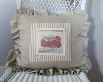 Country Pillow with Vintage Cherries