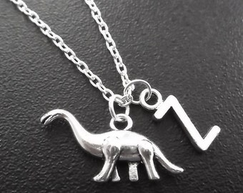 On sale.......Silver plated dinosaur necklace, monogram personalized custom gifts under 10 item No.746