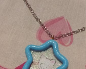 fairy kei star kitty necklace