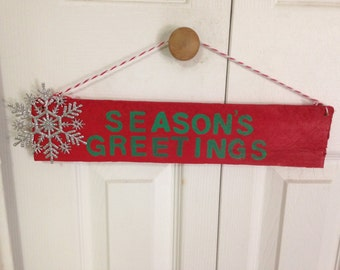 "Wooden Christmas/Holiday Sign ""Season's Greetings"""