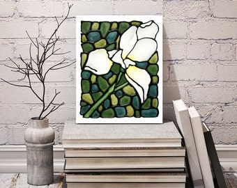 White Iris Art Print - Abstract Flower Artwork - Bedroom Art Decor - Wall Hanging - Poster Art - 8 x 10 inch - Signed by Artist Kathy Lycka