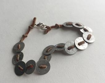 Metal Coin leather bracelet