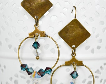 Swarovski Crystal and bronze earrings