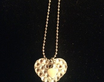 Heart necklace with sparkly crystals