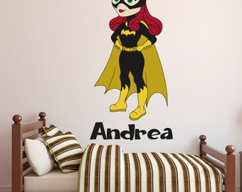 Supergirl Wall Decal Personalized Name Wall Decal Super - Superhero wall decals for girls