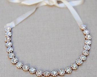 The Eleanor - Silver Gold Rhinestone Encrusted Bridal Headband Wreath White Ivory Ribbon Crown Wedding Bride Crystal Boho headpiece flower