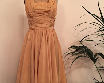 FLASH SALE 15% OFF!!! Stunning vintage 1950s apricot halterneck gathered and pleated taffeta evening dress