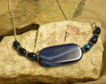 Blue Dragonstone Artisan Glass and Chain Necklace