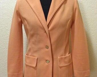 70s Peach Polyester Knit Jacket - Dalton Jacket - Small