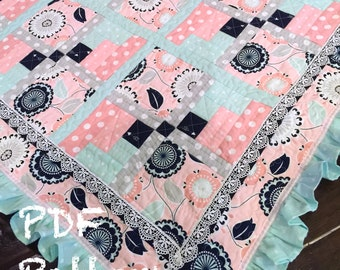 Ruffle Baby Quilt Pattern, baby girl Quilt Patter, Baby blanket pattern, PDF pattern, quilt pattern