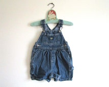 3-6 MOS - Vintage OshKosh Bgosh Girls Gathered Shorts Overalls Dark Blue Denim 3 to 6 Months MOS