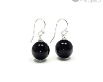 Onyx & Sterling Silver Drop Earrings 01186E, Black Onyx Jewelry, Boho Jewelry, Natural Gemstones Jewelry, Healing Crystals