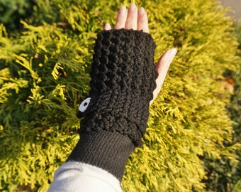Crochet black fingerless gloves, black gloves, gloves crochet, women's gloves, winter gloves, fingerless gloves