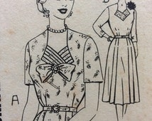 1940s Uncut vintage sewing pattern Australian Home Journal 8818 bust 42 Mid Century 40s retro dress, pleated bodice detail, pleated skirt