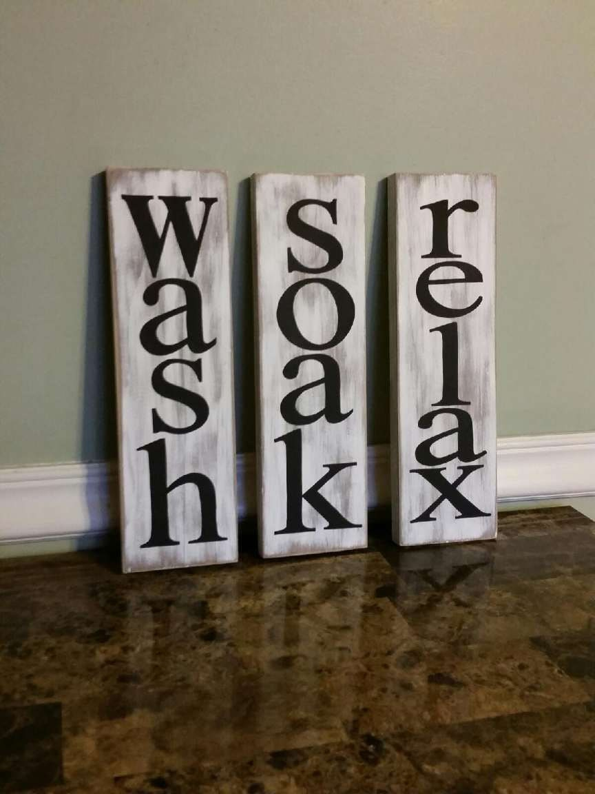 wash soak relax sign bathroom decor rustic bathroom decor