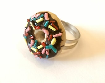 Colorful Donut Ring, Donut Jewelry Food Jewelry, Cute Rings, Kawaii jewelry, Food Charms, Quirky Gifts, Lolita Jewelry