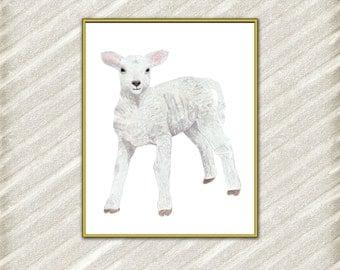 "Lamb Nursery Art:  ""FARM ANIMALS"" Farm Animal Prints Baby Animal art Watercolor baby lamb print Farm Animal art print Nursery wall decor"