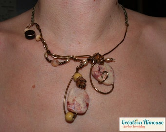 Pine cone necklace, bronze wire, pink stone