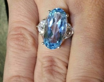 Sterling Silver Created Blue and created White Sapphire Ring