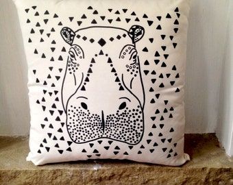 Happy Hippie Hippo Print, Animal Print, Boho Home