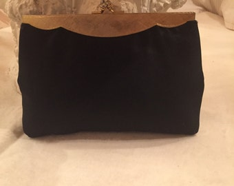 Vintage 1960's Black Silk Clutch Evening Bag ~ Vintage Chic Unique ~ Purse ~ Handbag