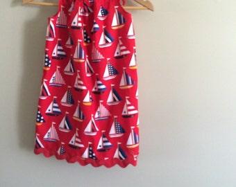 Patriotic ships ahoy tie top girls, adult, teens  handmade sun dress