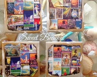 Beach Nautical Theme World Stamps Print Coasters Seaside Resort Decor