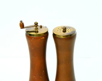 Danish Modern Wood and Brass Salt & Pepper Shakers, Mid Century