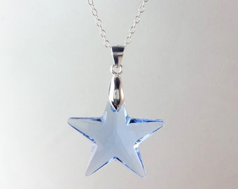 Blue star necklace etsy sterling silver blue star crystal necklace made with swarovski elements aloadofball Gallery