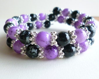 Purple and Black Beaded Wrap Bracelet, Black Bracelet, Purple Bracelet, Memory Wire Bracelet