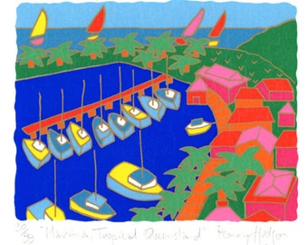 "Australian Limited Edition Screenprint ""Marina Tropical Queensland"""