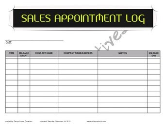Mileage log etsy for Appointment log template