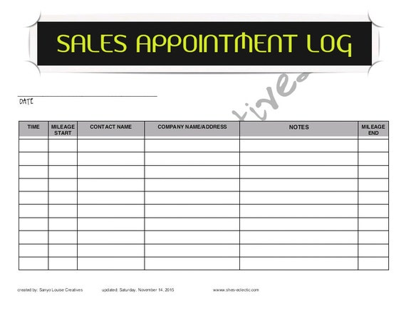 appointment log template excel